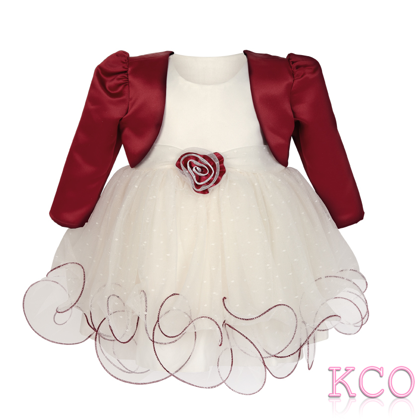 Baby girls dress fjd924 bolero jacket and dress ivory burgundy mightylinksfo