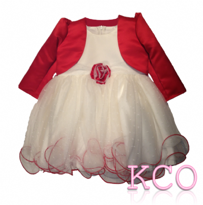 Baby Girls Dress ~ FJD924 Bolero Jacket and Dress Ivory/Red