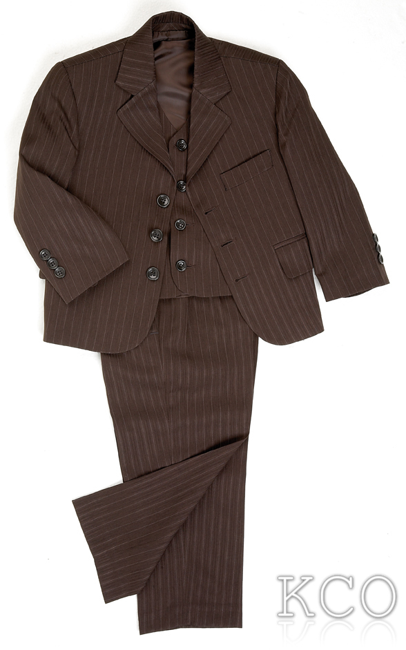 Pinstripe Brown 3 Piece Boys Suits