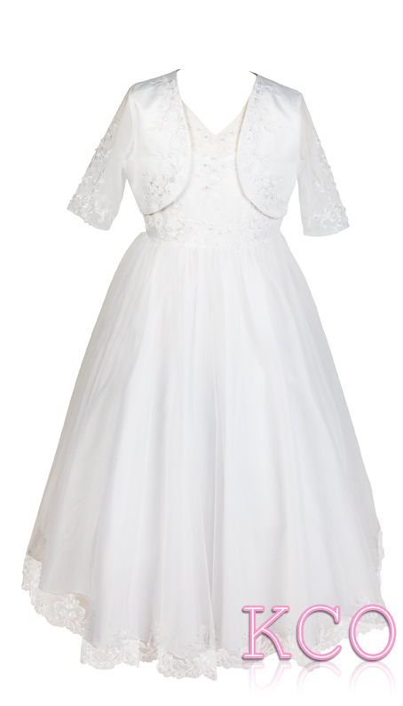 Style D3347 White~ Girls Communion Dress