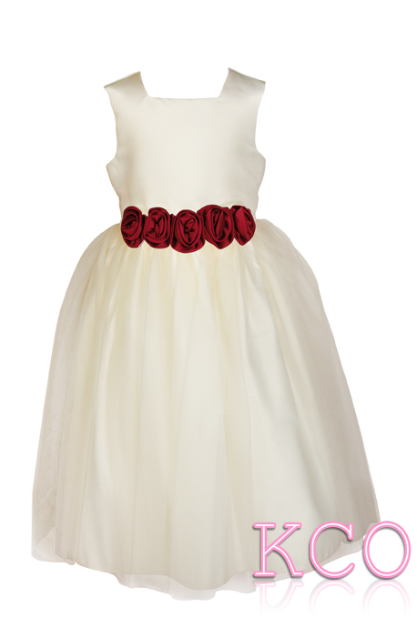 Style FJD923~ Flower Belt Dress Ivory/Burgundy