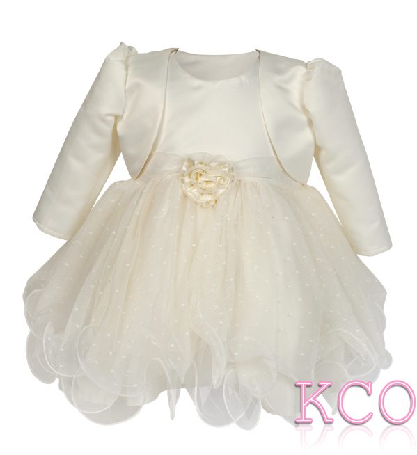 Baby Girls Dress ~ FJD924 Bolero Jacket and Dress Ivory/Ivory