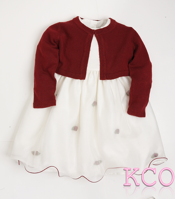 Cardigan Dress Burgundy/Ivory ~ girls dress