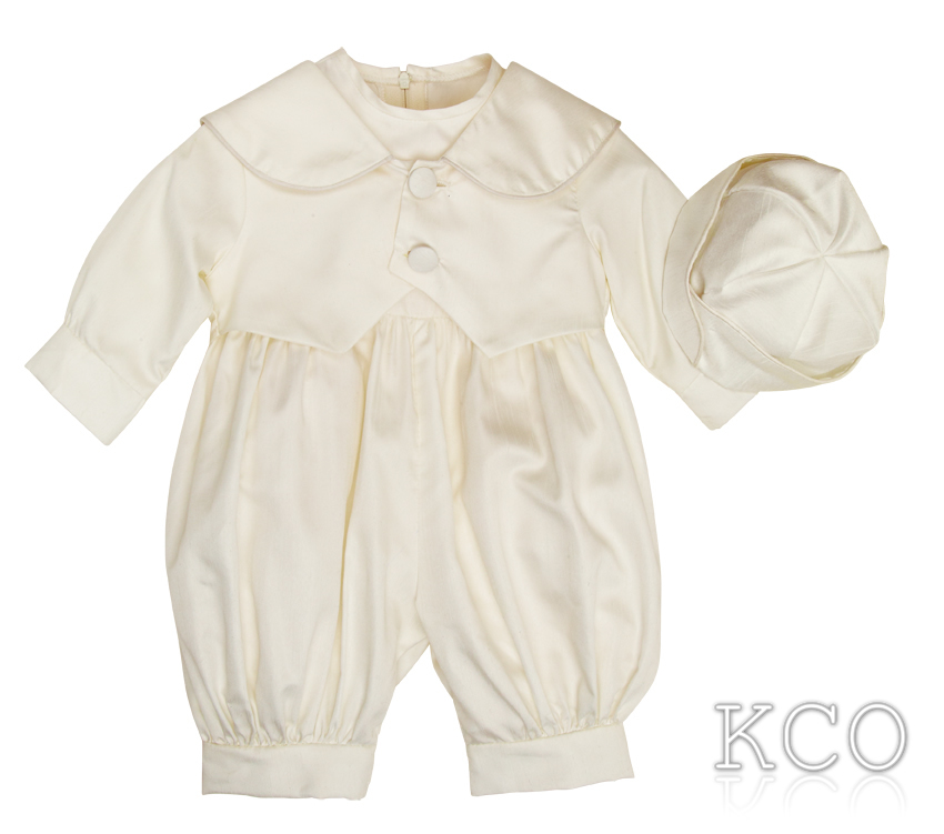 Classic Dupion Romper Ivory~ Boys Suits