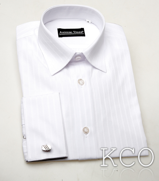Double Cuff Striped Shirt With Cufflinks White