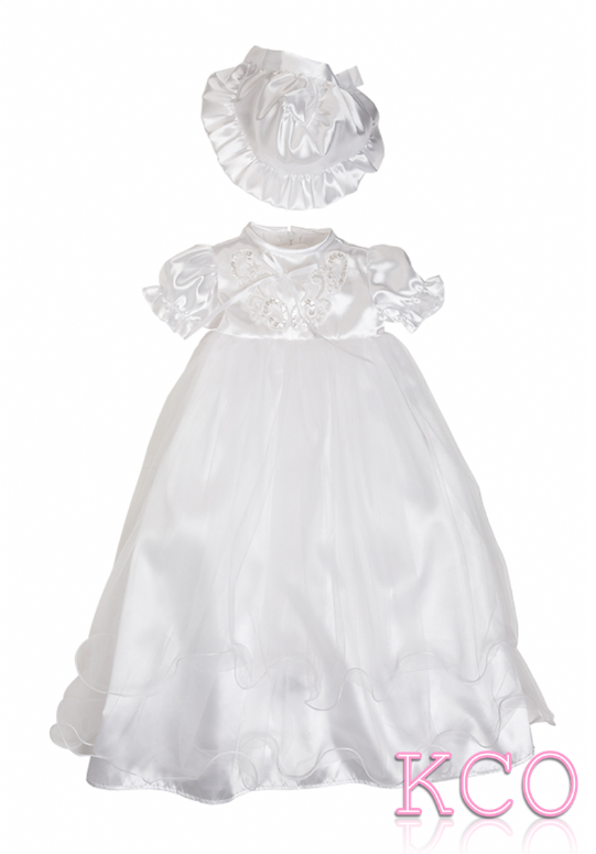 Net Christening Gown White