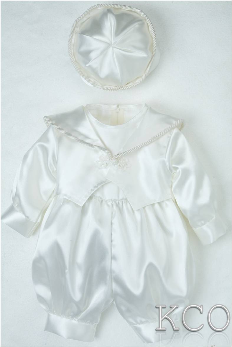 Plain Satin Romper Ivory~ Boys Suits