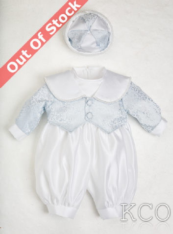 Regal Brocade Romper Blue/White~ Boys Suits