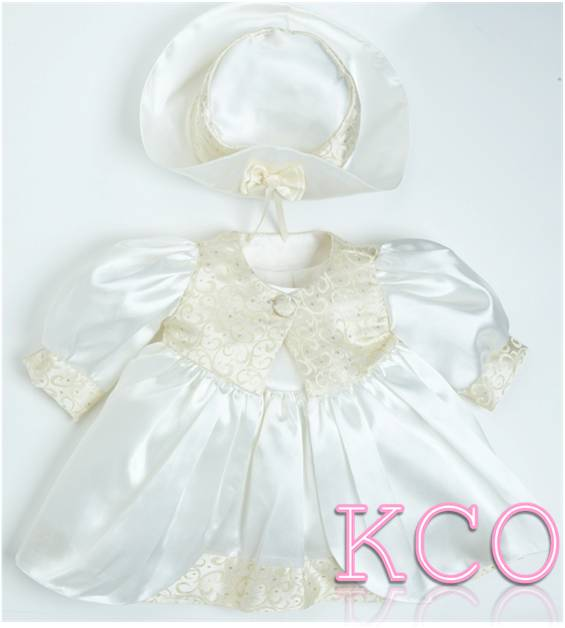 Shimmering Satin Coat & Dress B0688 Cream/Gold ~ girls dress