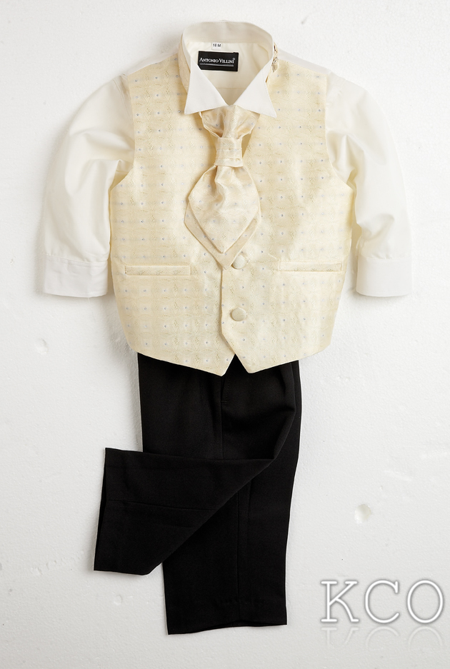 Sicily Classic Ivory Shirt/Black Trousers~ Boys Suits
