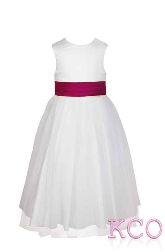 Style FJD922~ Pleat Sash Dress White/Cerise