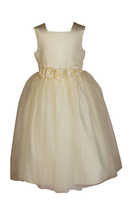 Style FJD923~ Flower Belt Dress Ivory/Ivory