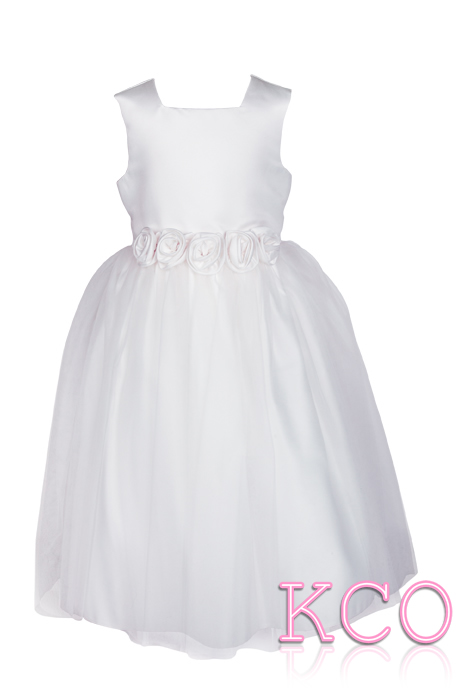 Style FJD923~ Flower Belt Girls Dress Ivory/Purple