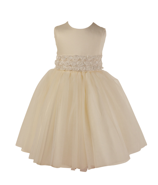 Style FJD927~ Rose Belt Dress Ivory